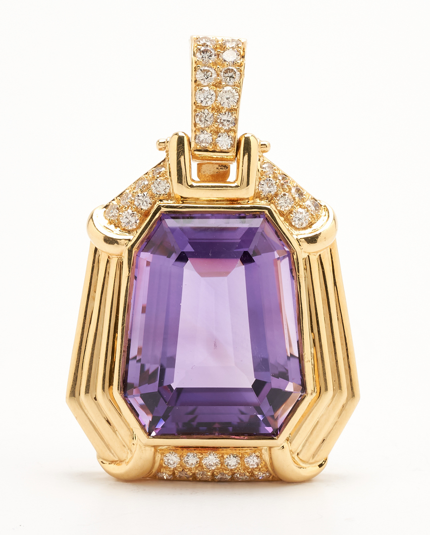 Lot 49: 18K Amethyst & Diamond Pendant with 14K Rope Necklace