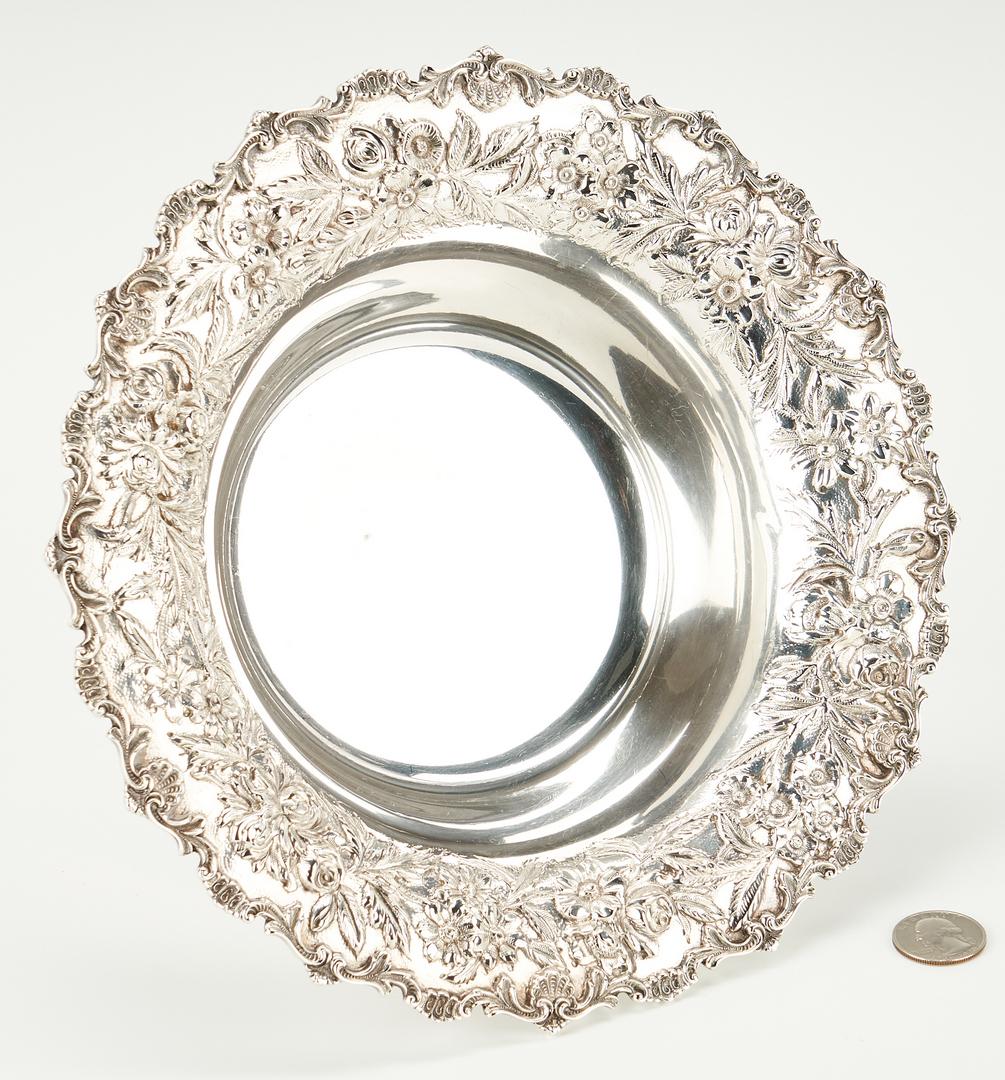 Lot 500: Kirk Repousse Sterling Silver Bread Plates and Bon Bon Bowl, 13 items