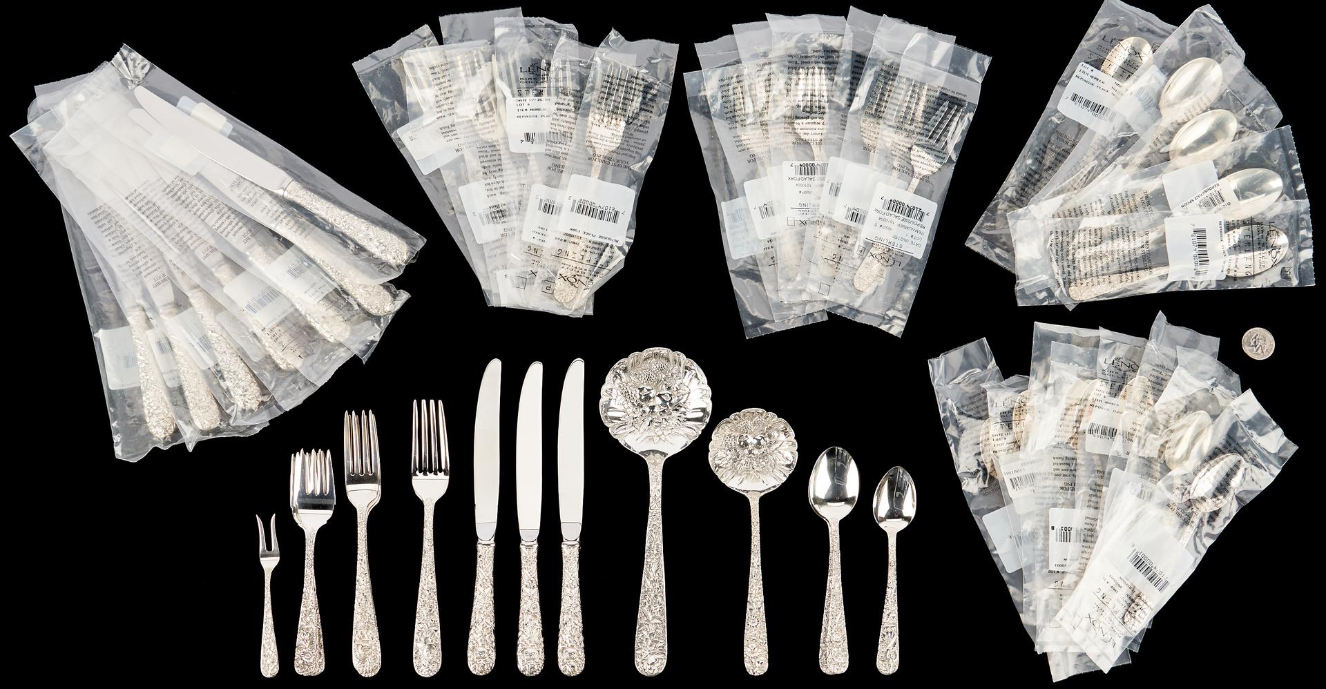 Lot 501: 50 Pcs. Kirk Repousse Sterling Silver Flatware