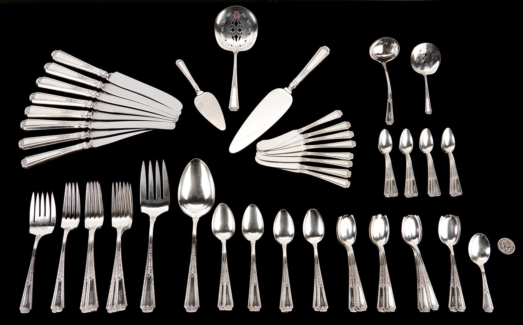 Lot 506: 64 Pcs. Towle Louis XIV Sterling Silver Flatware
