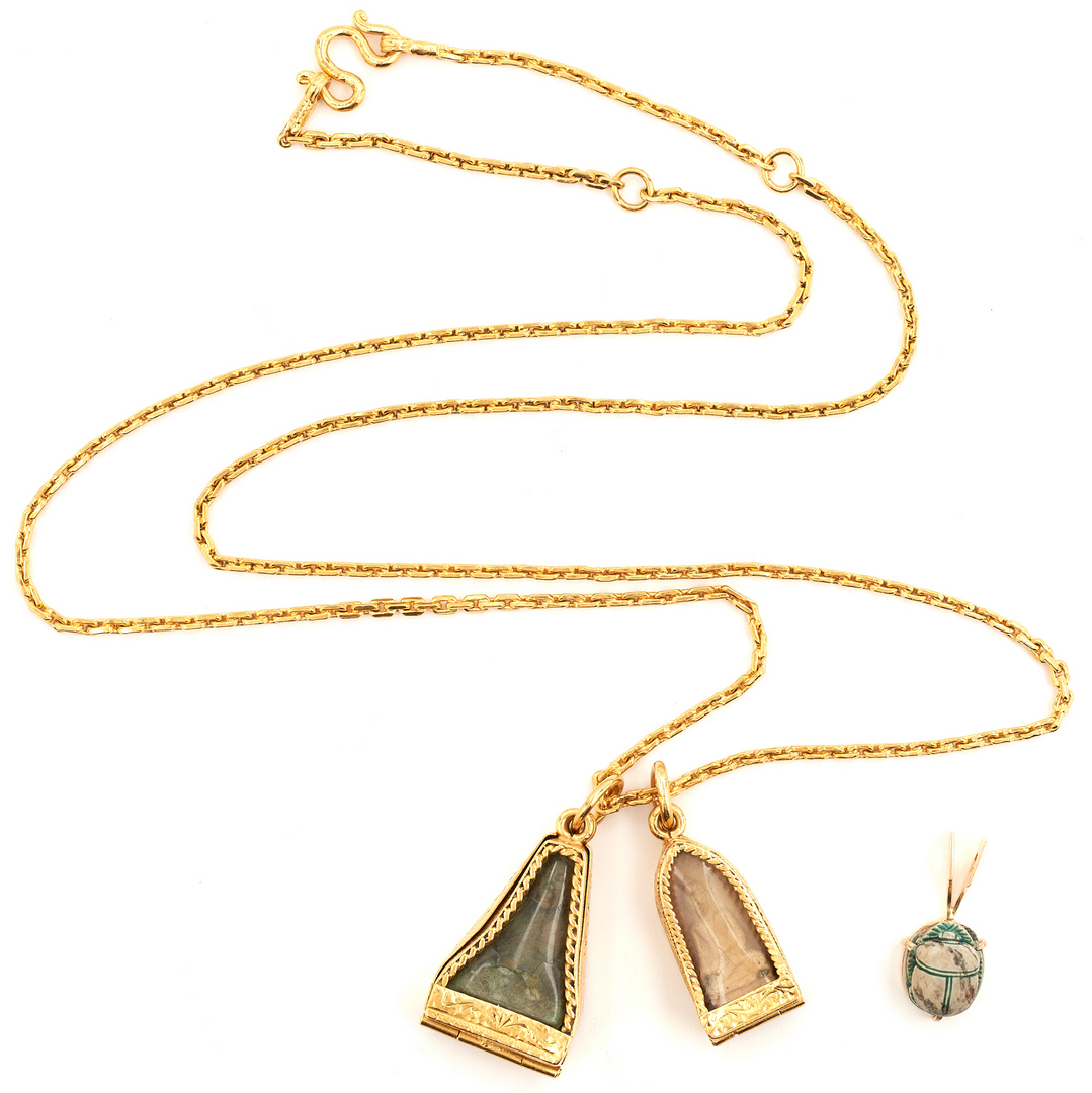 Lot 50: 22K Gold Necklace with 3 Gold Pendants