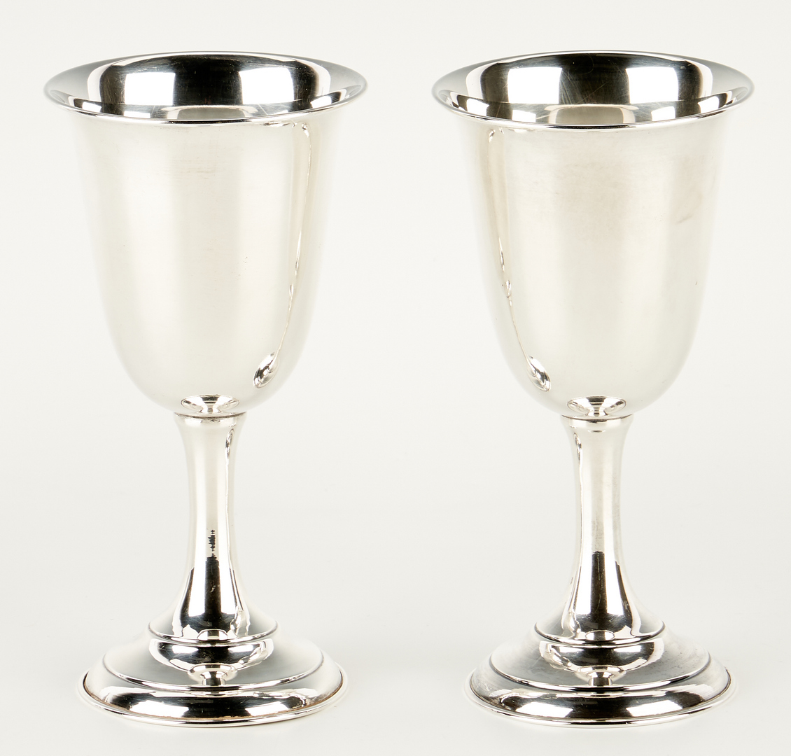 Lot 510: 11 Sterling Silver Water Goblets, Marked 950