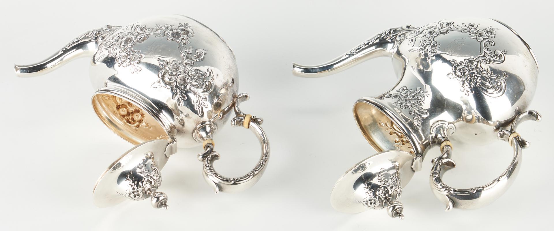 Lot 514: 4 Pcs. Whiting Sterling Silver Tea Set w/ Repousse Floral Design