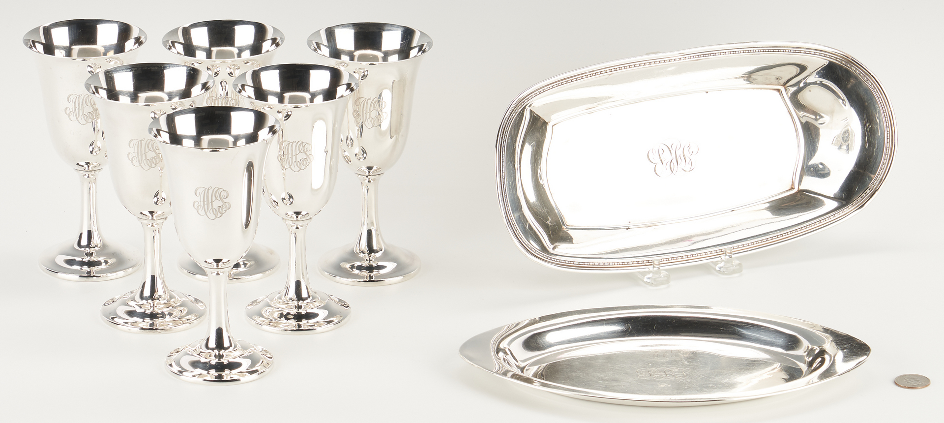 Lot 515: Eight (8) Sterling Silver Items, incl. Wallace Goblets