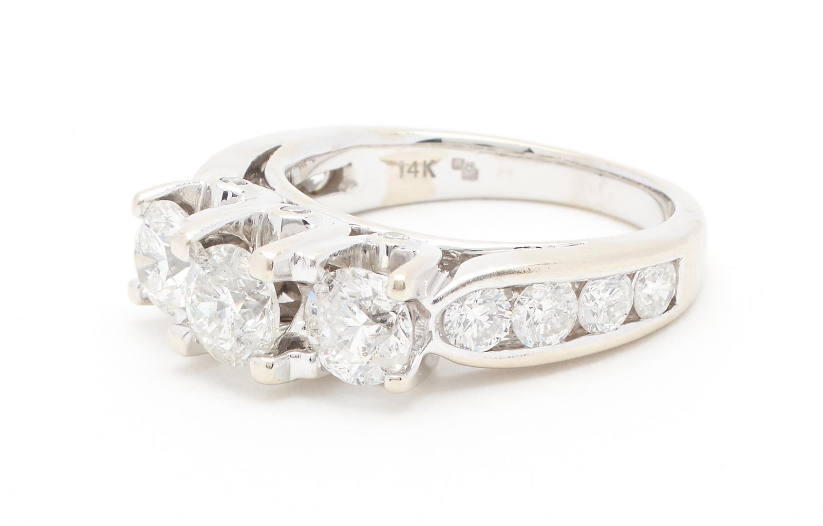 Lot 51: 14K White Gold 3 Diamond Ring