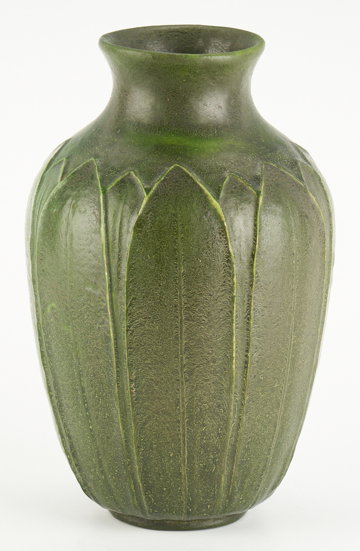 Lot 520: Grueby Faience Co. Art Pottery Vase, Lillian Newman