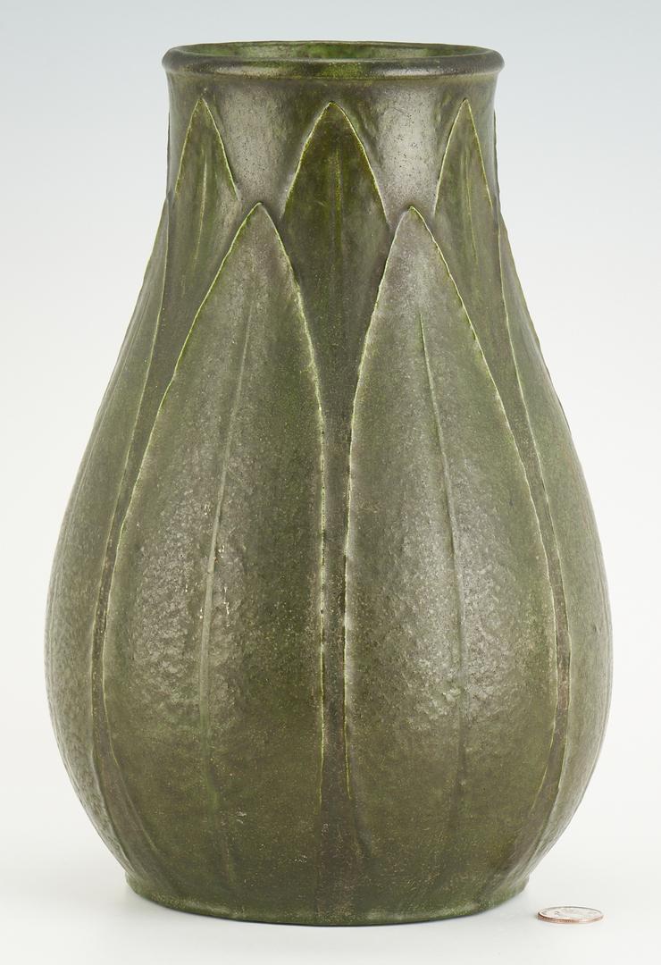 Lot 523: Tall Grueby Art Pottery Vase, Marie Seaman