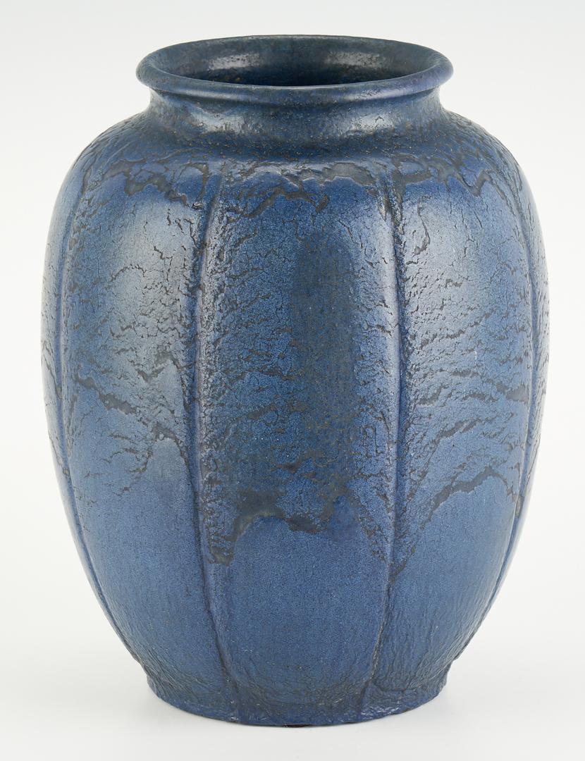 Lot 525: Grueby Art Pottery Vase, signed Marie Seaman