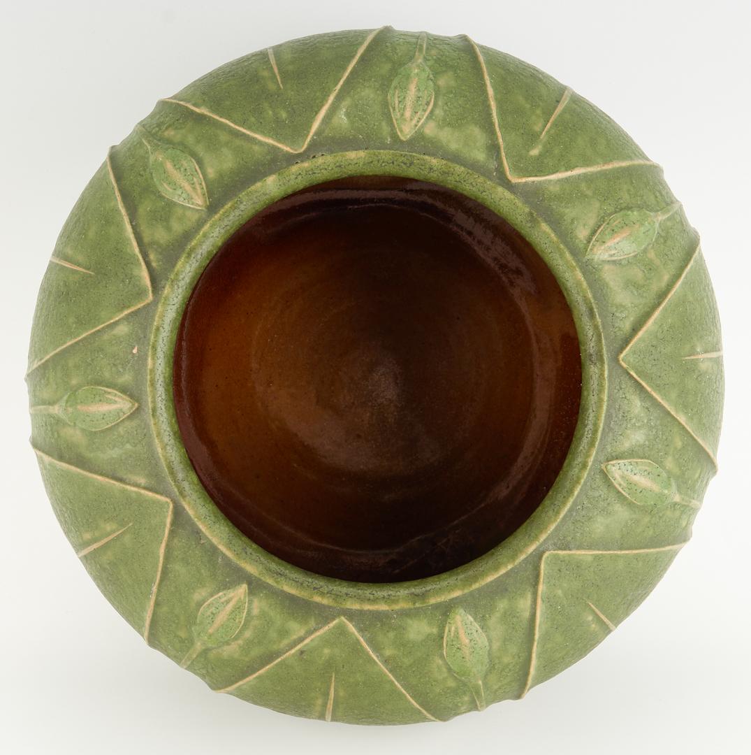 Lot 526: Grueby Art Pottery Low Vase, Green Matte Glaze