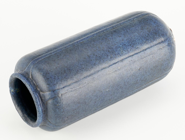 Lot 527: Grueby Art Pottery Blue Cylindrical Vase, CH Signed