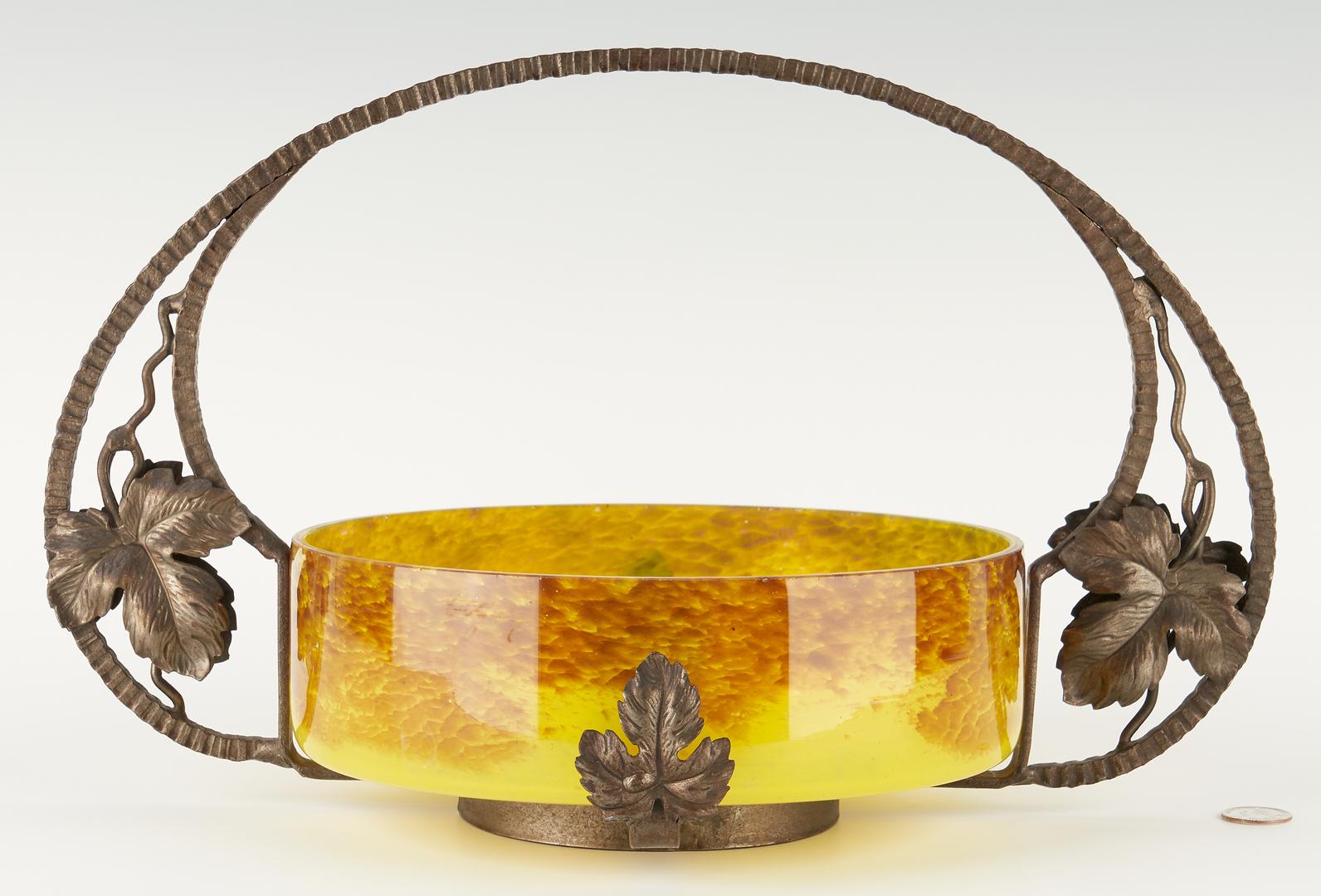 Lot 541: Art Glass Bowl w/ Bronzed Metal Stand attr. Kralik