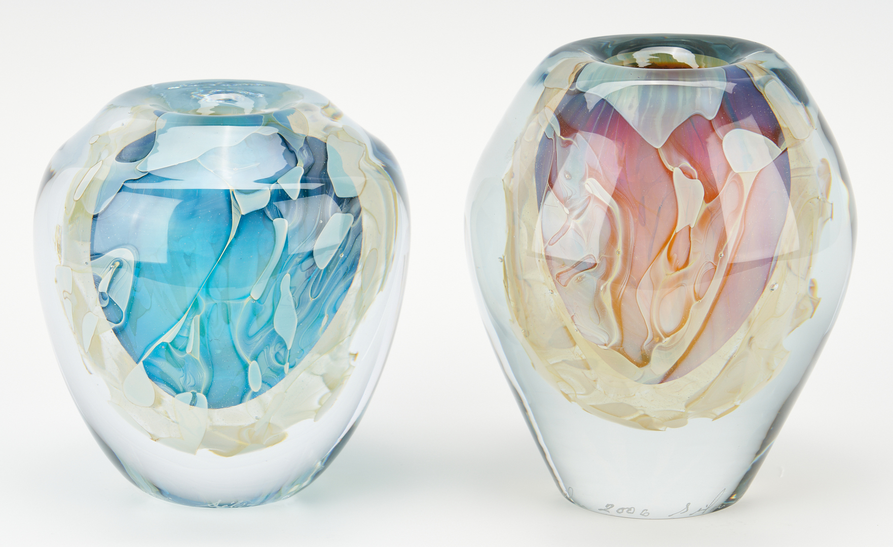 Lot 543: 4 Chris Heilman Silver Art Glass Vases
