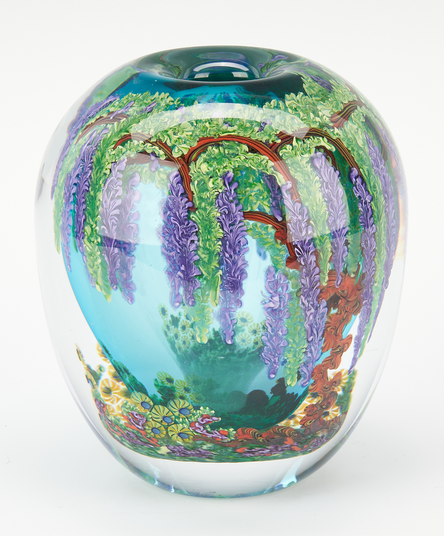 Lot 544: 2 Chris Heilman Art Glass Vases, Iris & Wisteria