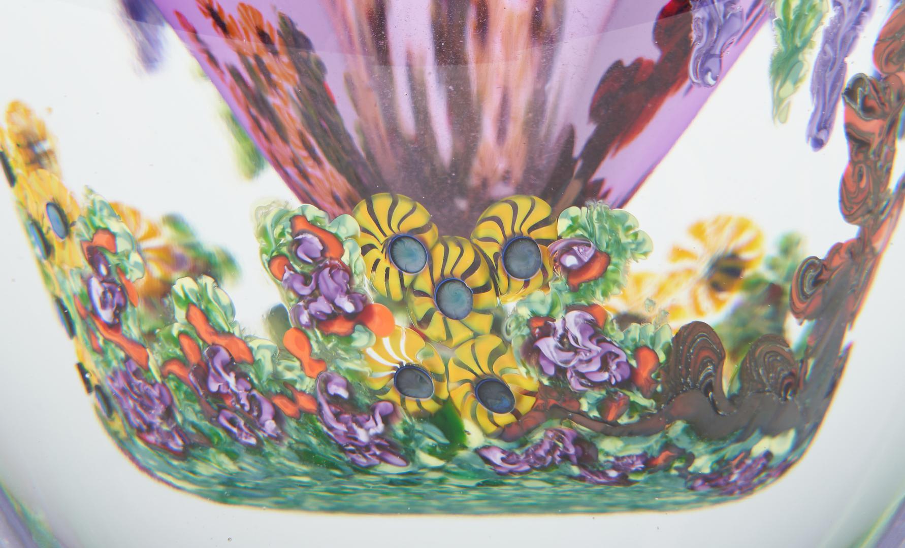 Lot 545: Chris Heilman Art Glass Vase, Wisteria and Garden