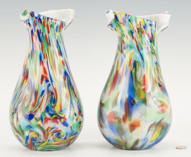 Lot 548: Pair of Vetreria Fratelli Toso Murano Glass Vases