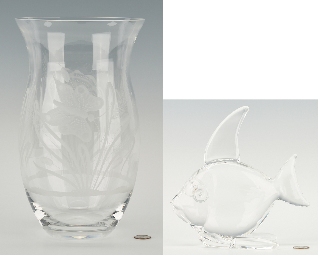Lot 550: Tiffany & Co. Etched Glass Vase & Steuben Glass Fish