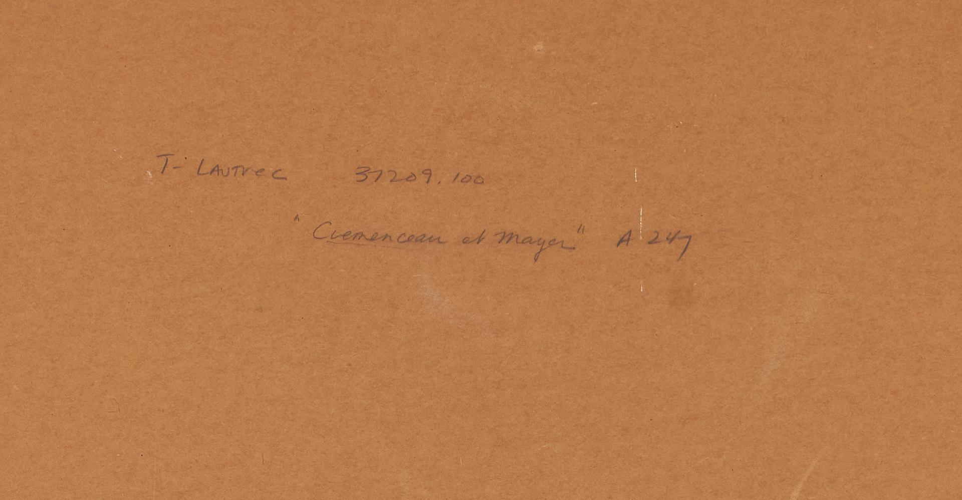 """Lot 559: Henri Toulouse Lautrec Lithograph, """"Clemenceau et L'Oculiste Mayer"""""""