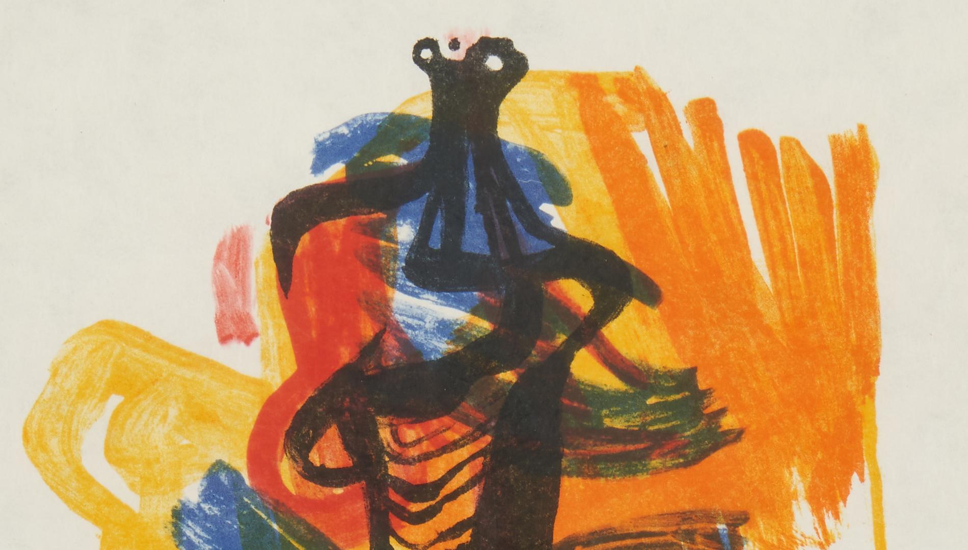Lot 564: Henry Moore, Black Seated Figure on Orange Ground