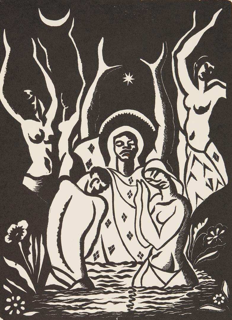 Lot 570: 3 Albert Huie Religious Jamaican Woodblock Prints