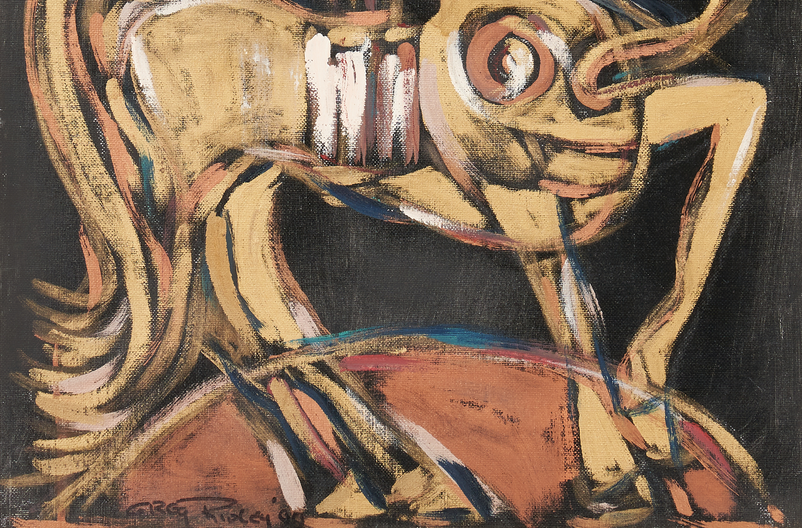 Lot 572: Greg Ridley Oil on Board Painting, Centaur