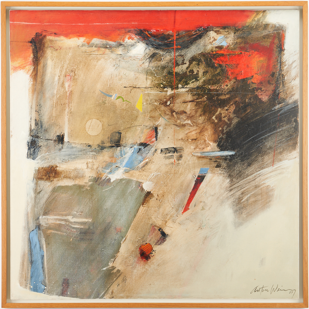 Lot 579: Exhibited Anton Weiss Abstract Acrylic Painting, Residual I