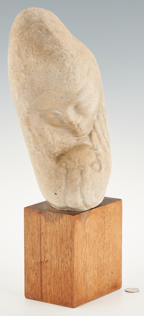 Lot 584: Stone Sculpture of Madonna and Child