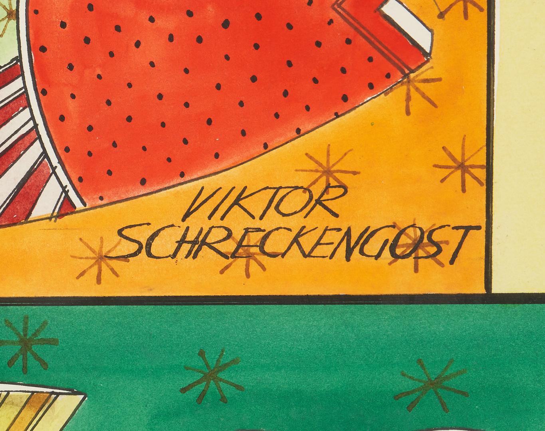 Lot 587: Viktor Schreckengost Watercolor, Fish Images