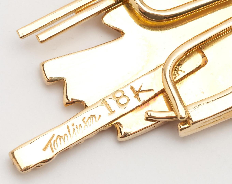 Lot 58: 18K Designer Modernist Necklace or Brooch, Tomlinson