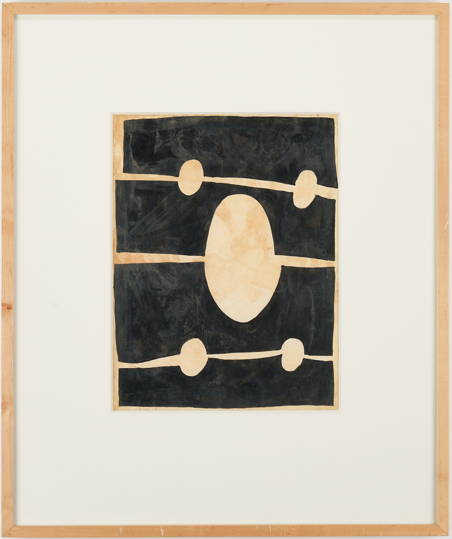 Lot 597: 2 Jorge Fick Abstract Paintings, Tan and Black