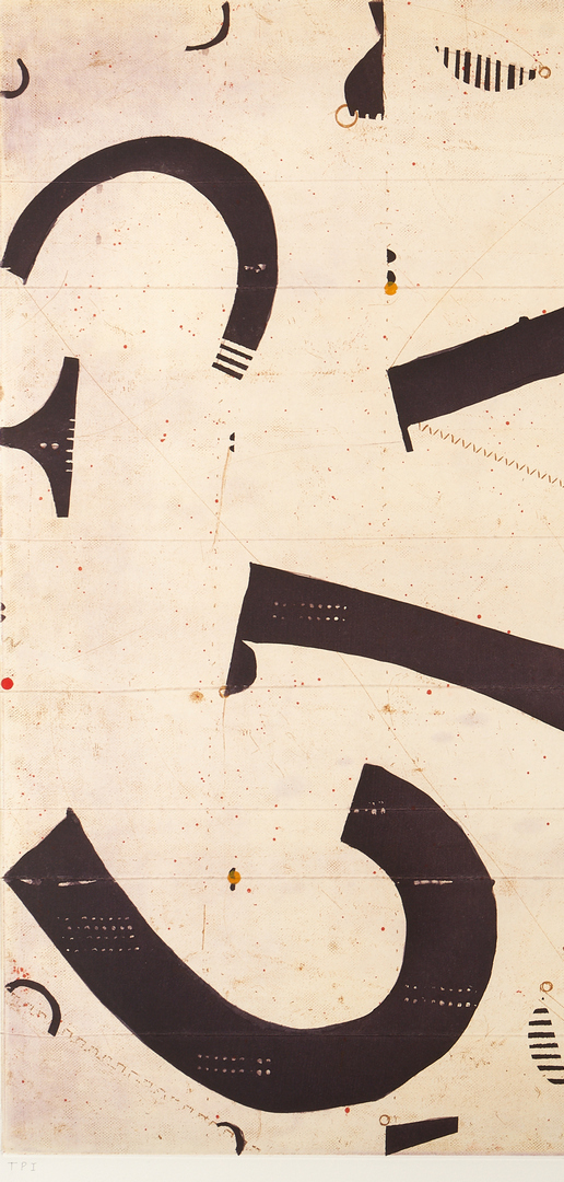 Lot 598: Caio Fonseca Abstract Mixed Media Print, Seven String, No. 1