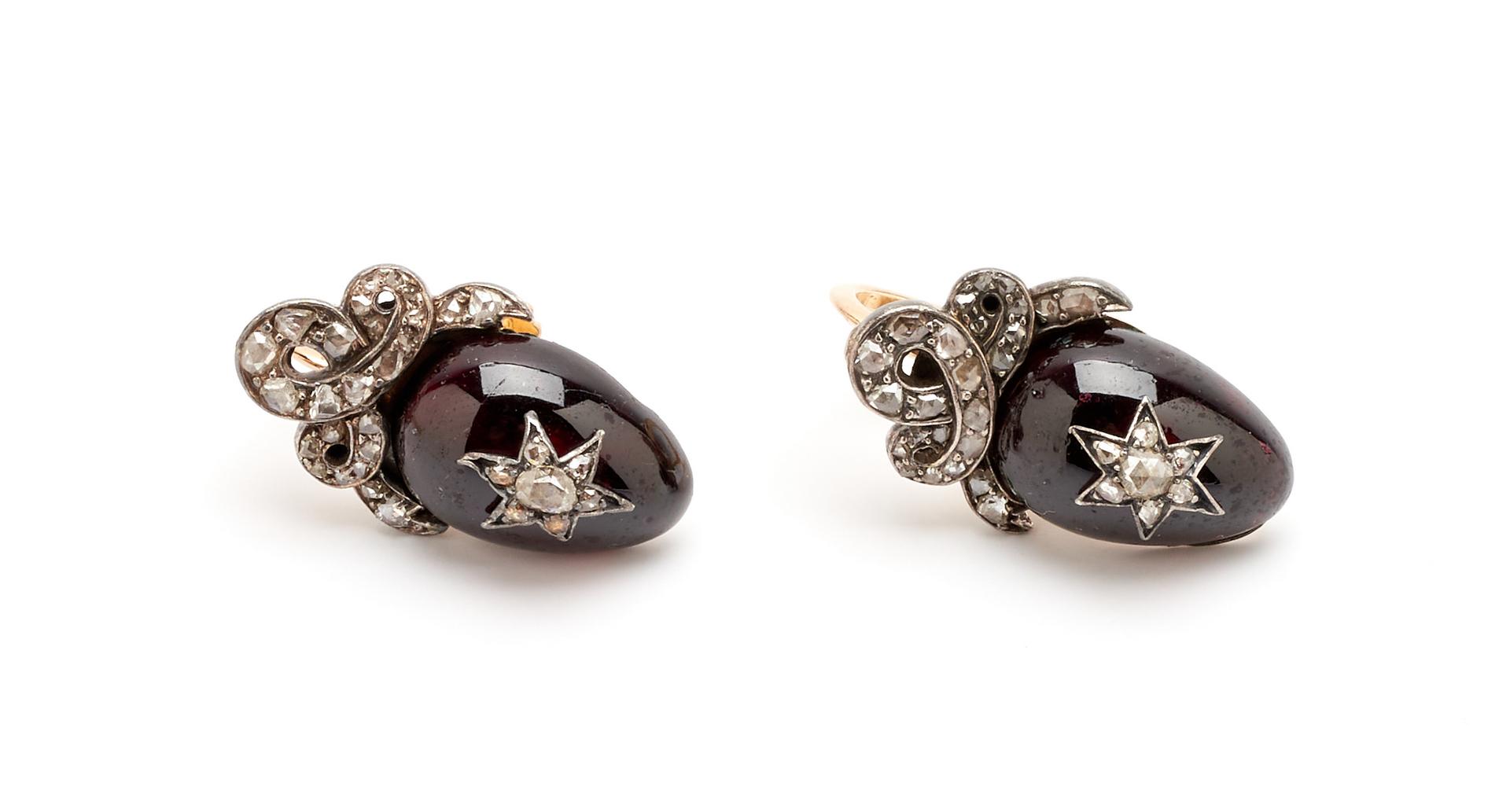 Lot 59: Art Deco 14K Diamond & Garnet Bracelet & Earrings