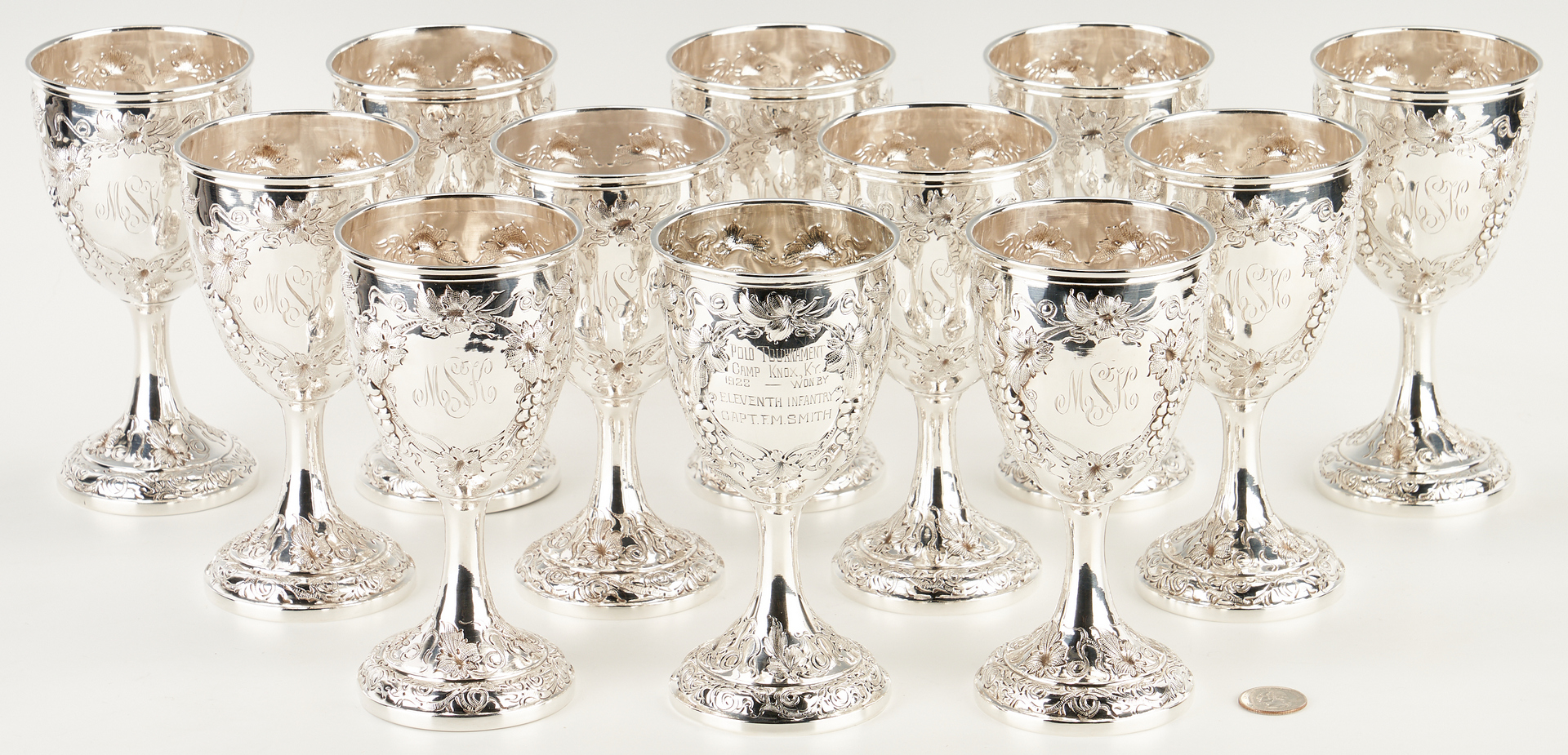 Lot 5: Set of 12 Chinese Export Sterling Silver Goblets, 11 marked Yu Chang