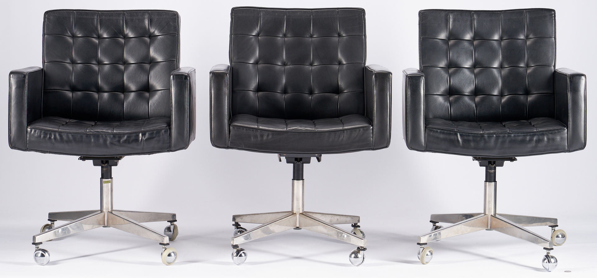 Lot 609: Set 12 Knoll Black Leather Swivel Chairs, Vincent Cafiero