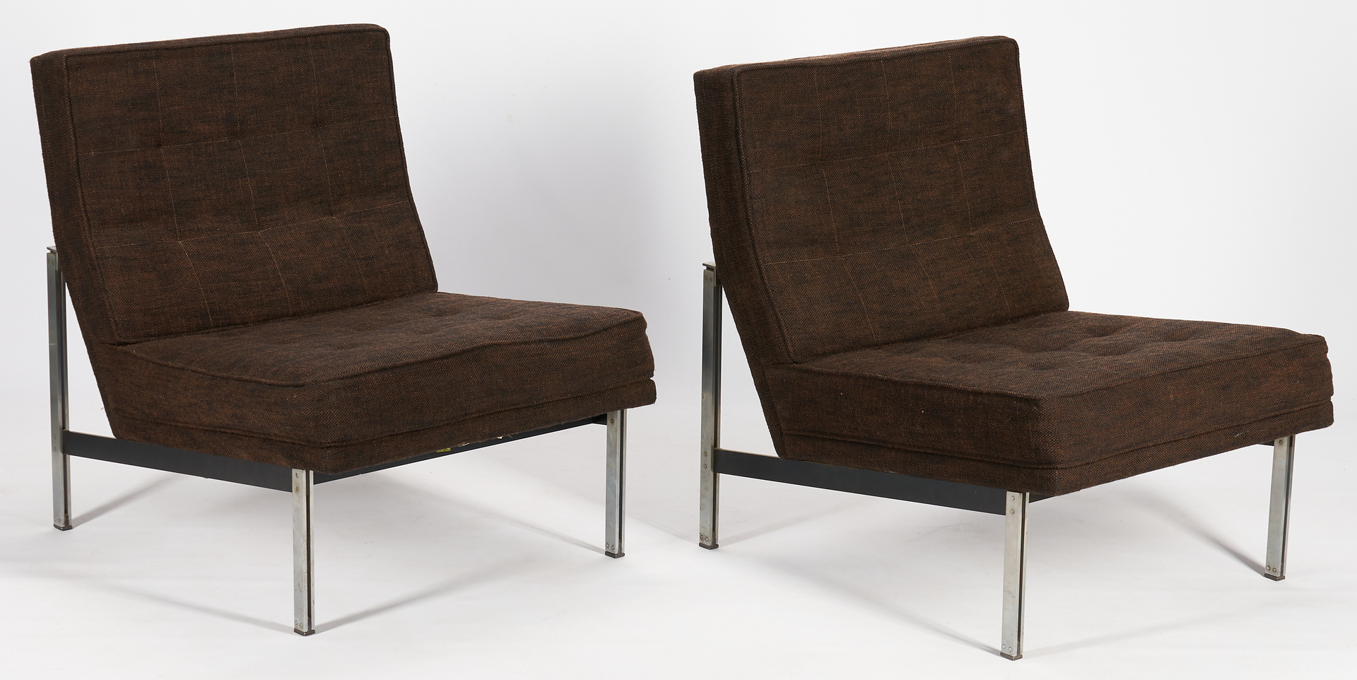 Lot 616: Pair Mid-Century Knoll Parallel Bar Slipper Chairs