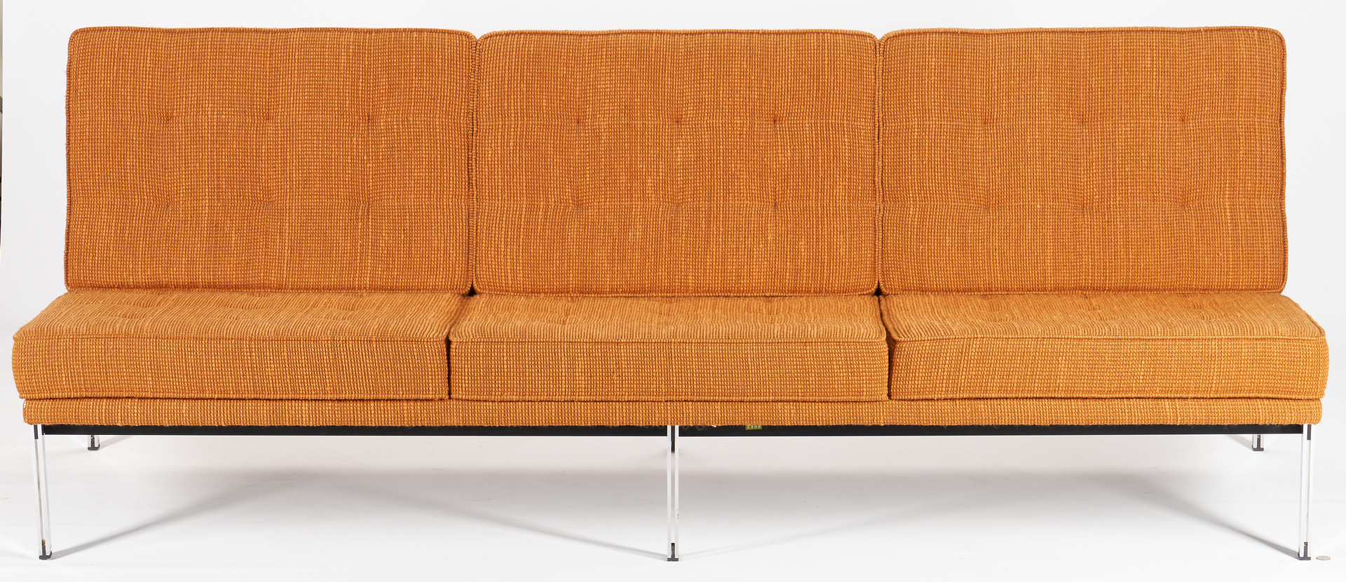 Lot 618: Pair of Mid Century Knoll Parallel Bar System Armless Sofas