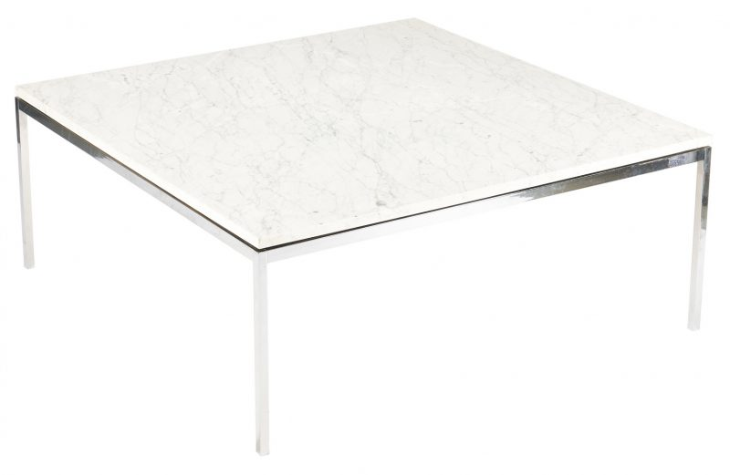 """Lot 619: Knoll Mid-Century Marble Top Table, 42"""""""