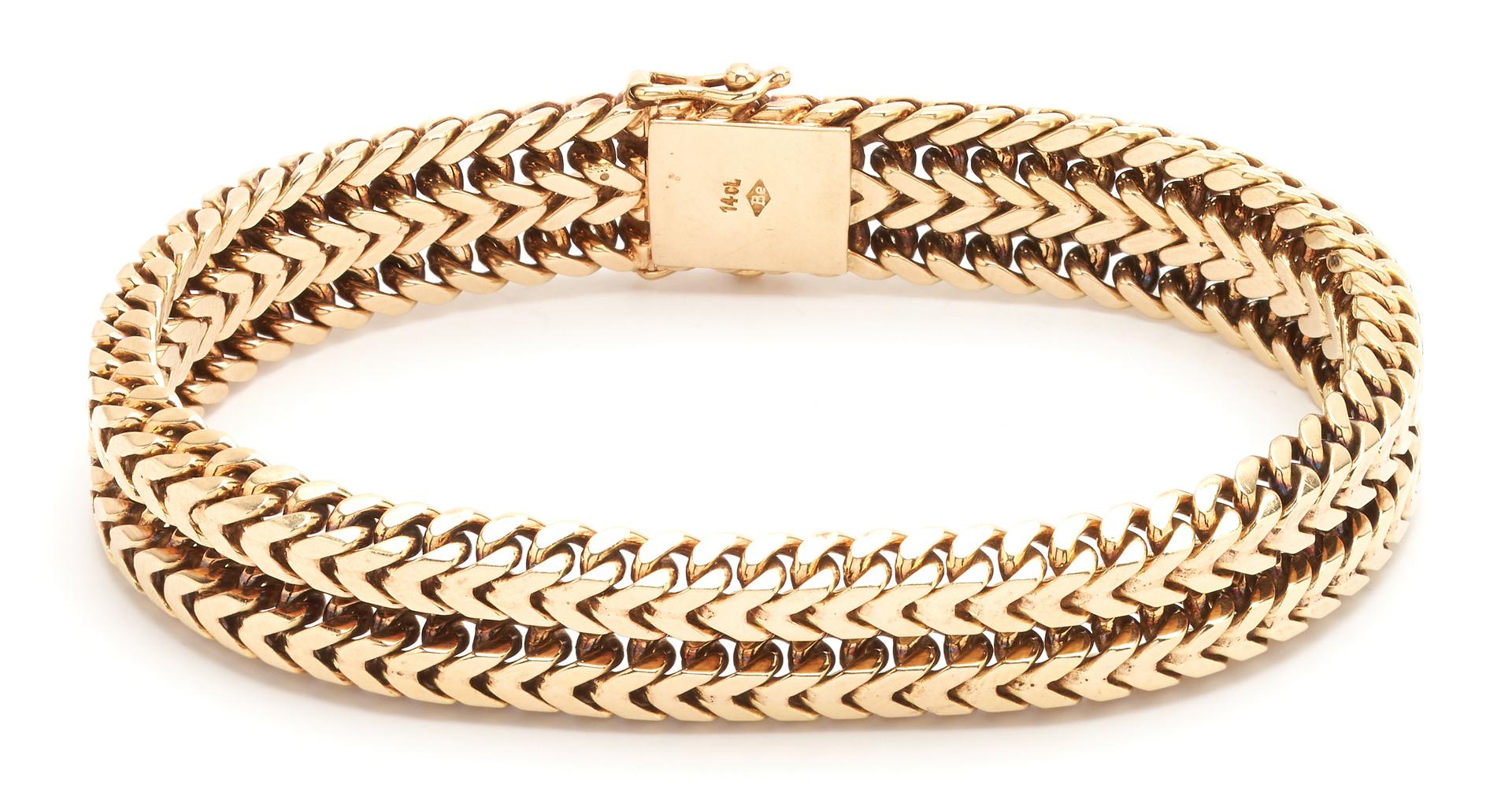 Lot 61: 14K Mens Gold Chain Bracelet, 55.2 grams