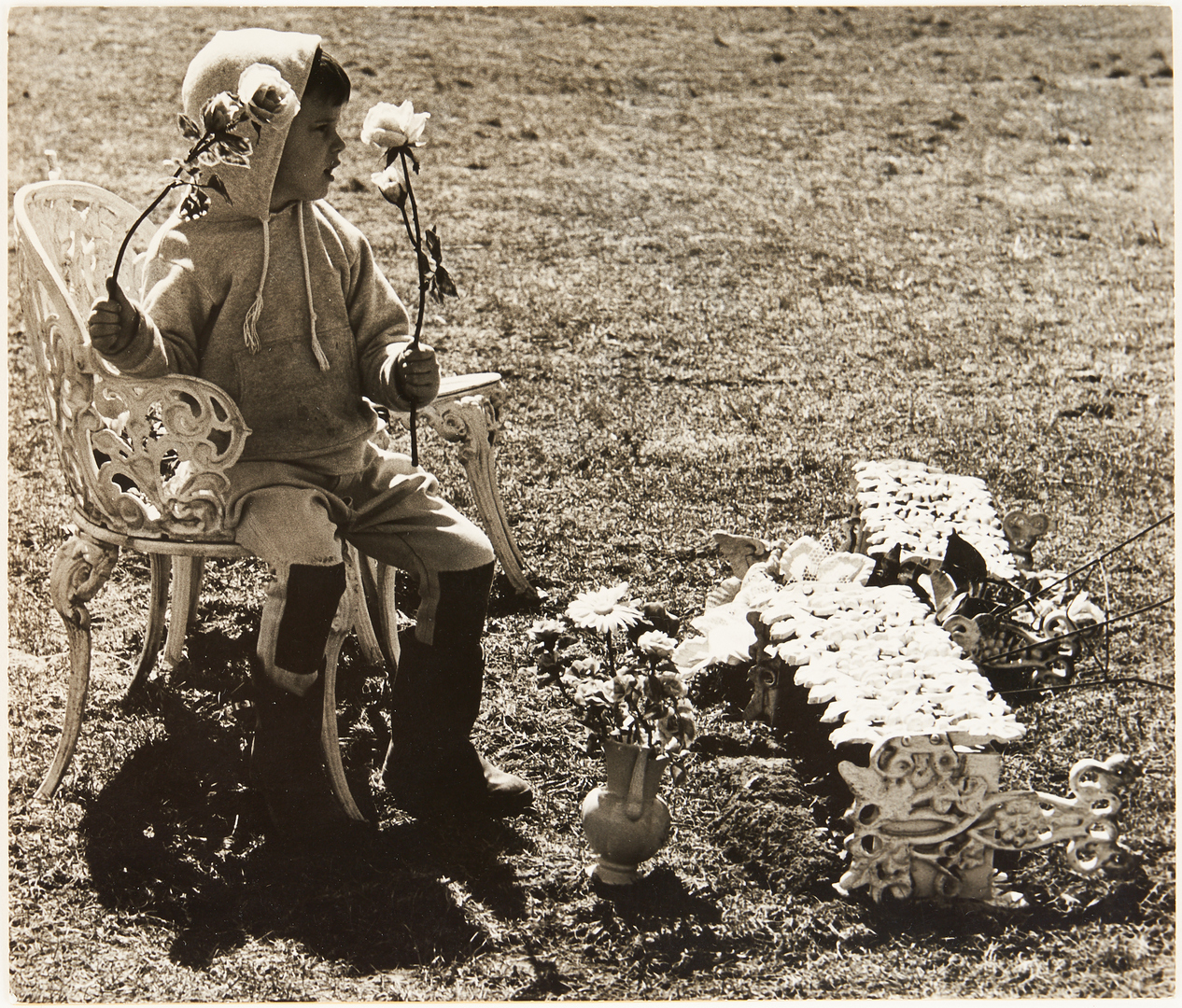 Lot 622: Ralph Eugene Meatyard Photograph, Child w/ Planter