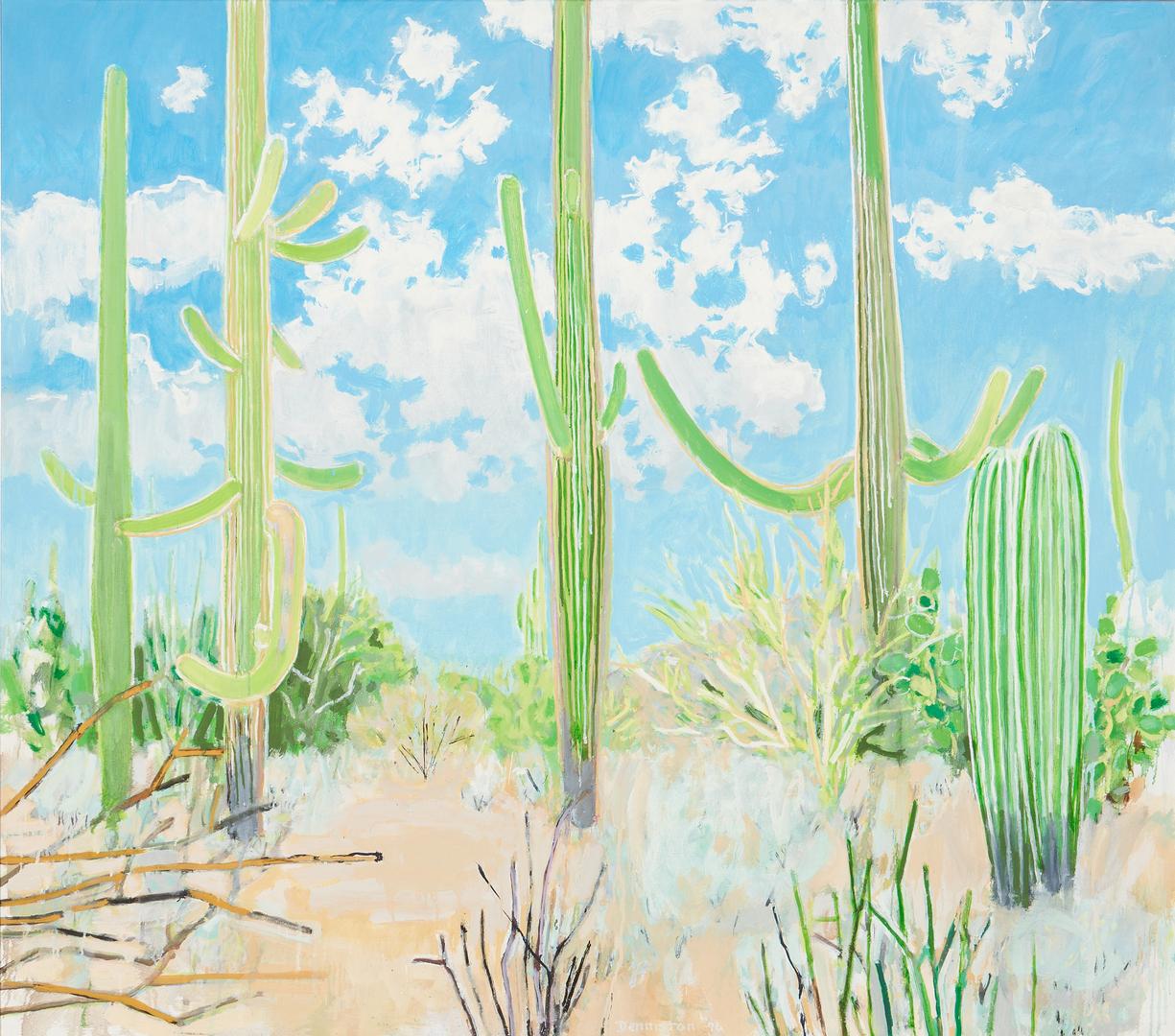 "Lot 624: Douglas Denniston O/C Desert Landscape, ""White Clouds"""