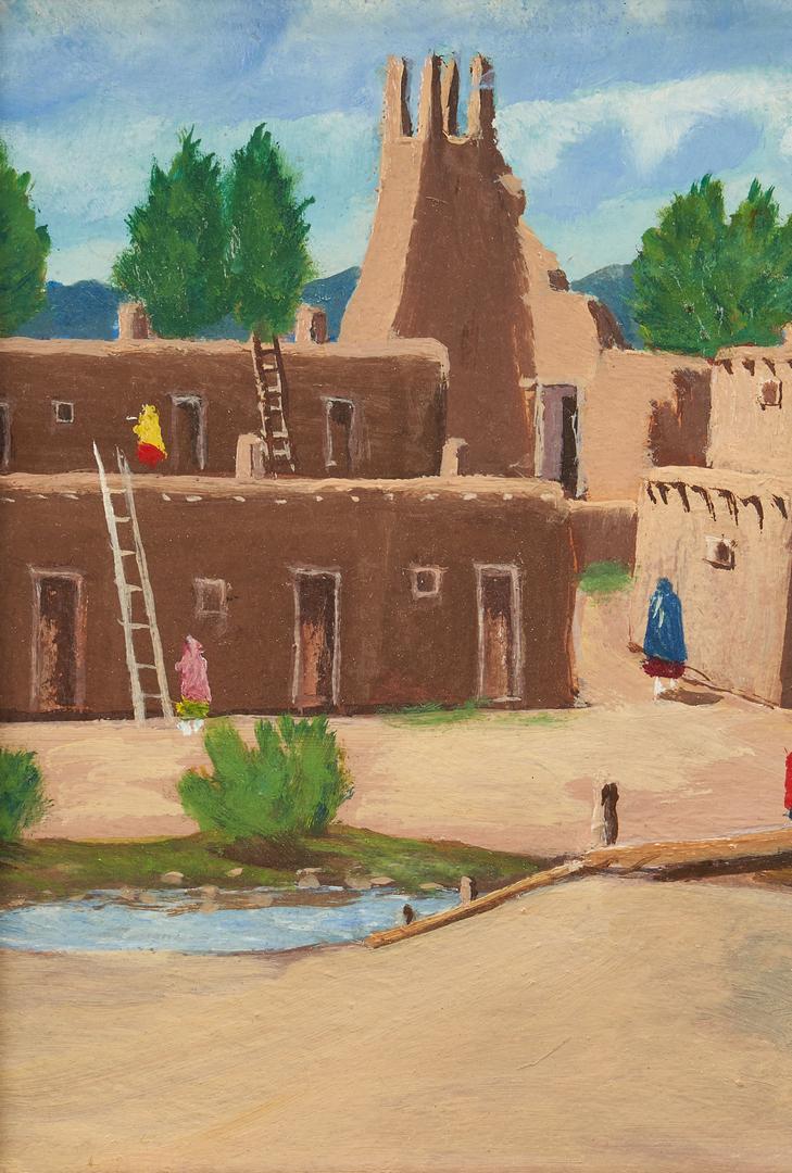Lot 627: Albert Lujan O/B Painting, Taos Pueblo