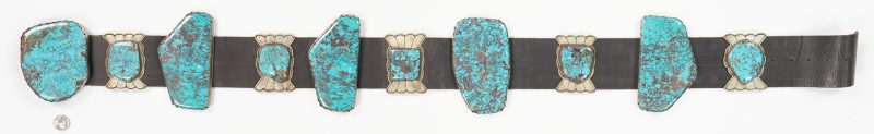 Lot 632: Native American Sterling Silver, Large Turquoise Stone Concho Belt