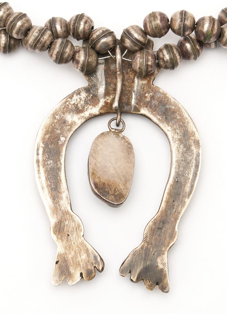 Lot 633: Turquoise Morgan Dollar Squash Blossom Necklace