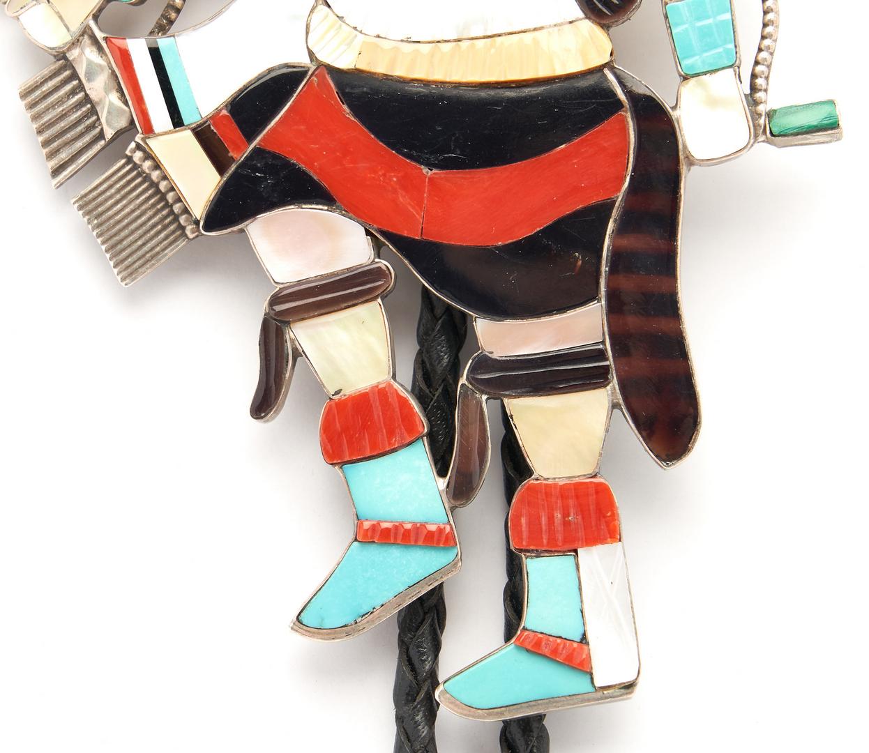 Lot 636: Large Eddie Beyuka Zuni Dancer Bolo Tie, Parrot