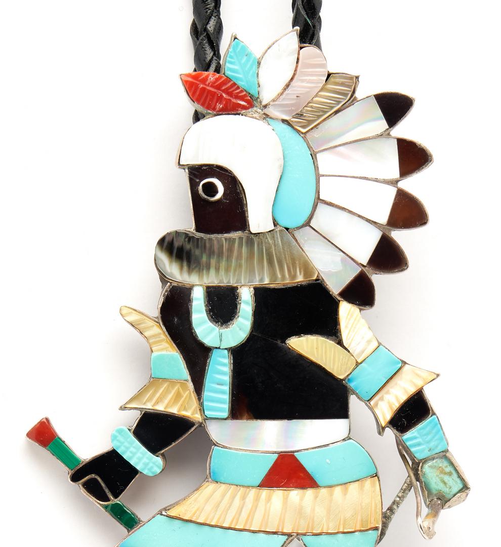 Lot 637: Large Eddie Beyuka Zuni Dancer Bolo Tie, Warrior