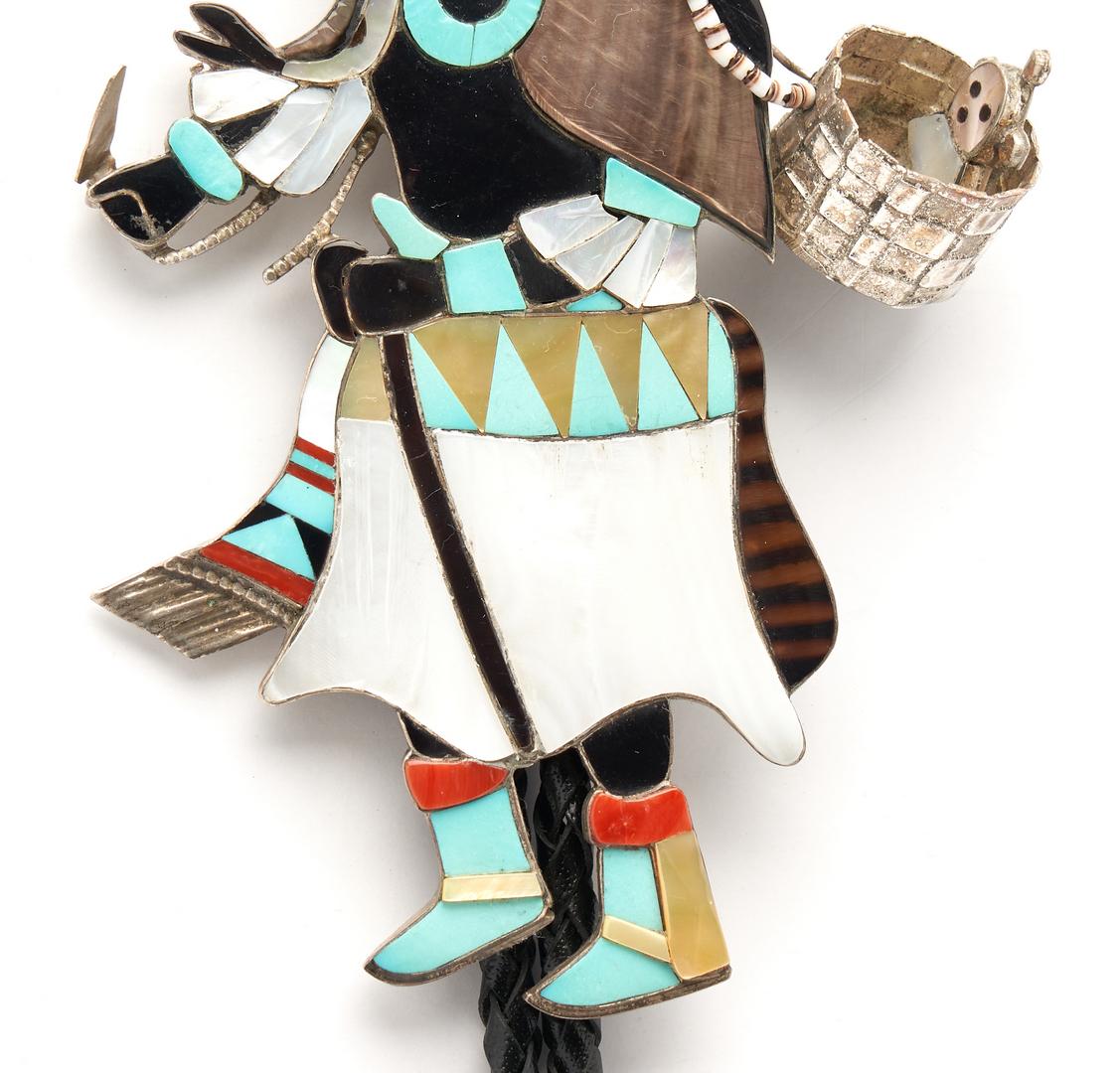 Lot 638: Large Eddie Beyuka Zuni Dancer Bolo Tie, Ogre