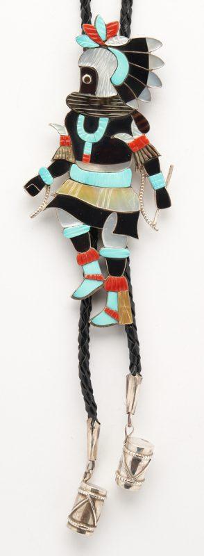 Lot 639: Large Eddie Beyuka Zuni Dancer Bolo Tie, Warrior