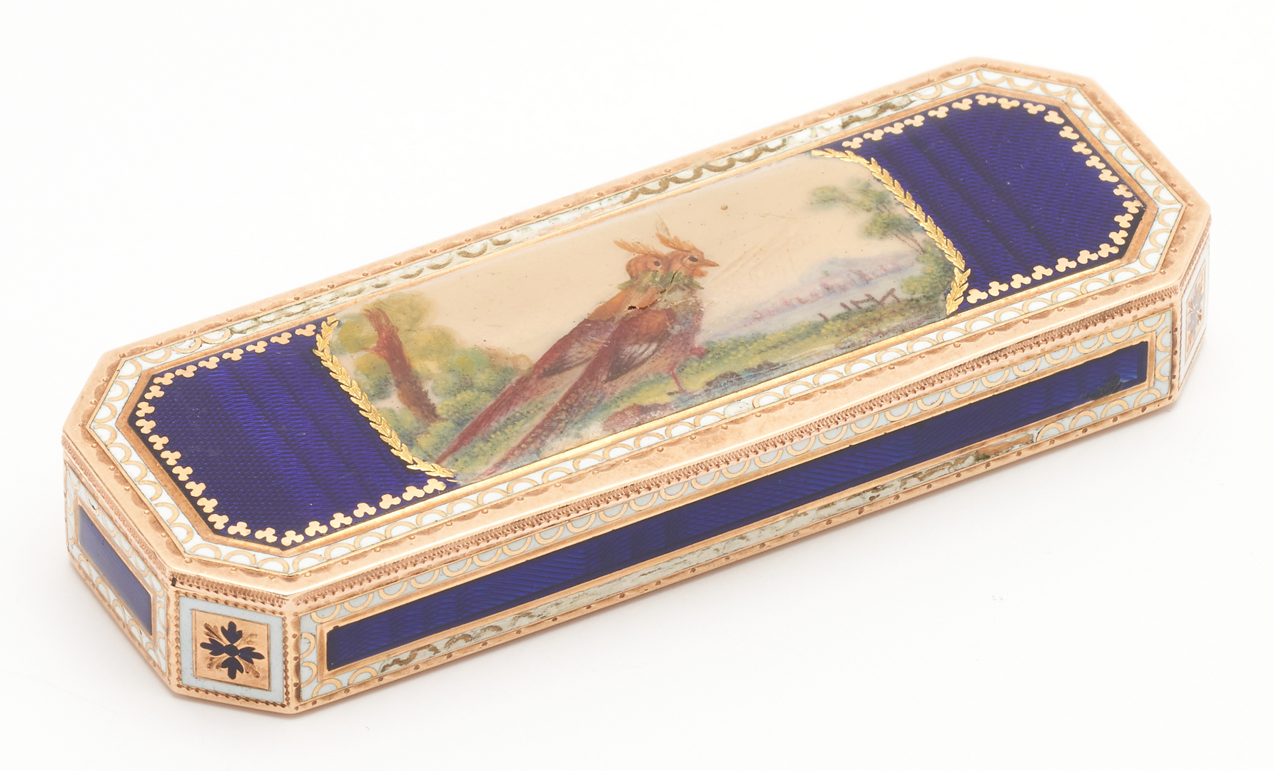 Lot 63: French 14K Gold & Enamel Decorated Pill Box