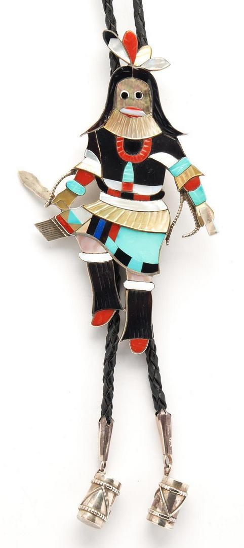 Lot 640: Large Eddie Beyuka Zuni Dancer Bolo Tie, Ogre