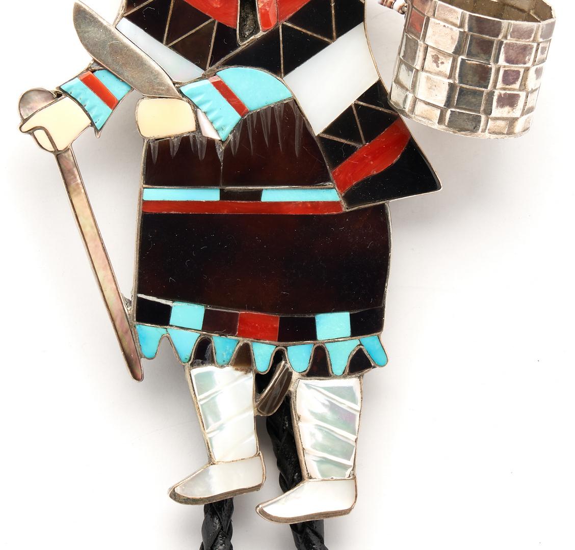 Lot 641: Large Eddie Beyuka Zuni Dancer Bolo Tie, Ogre