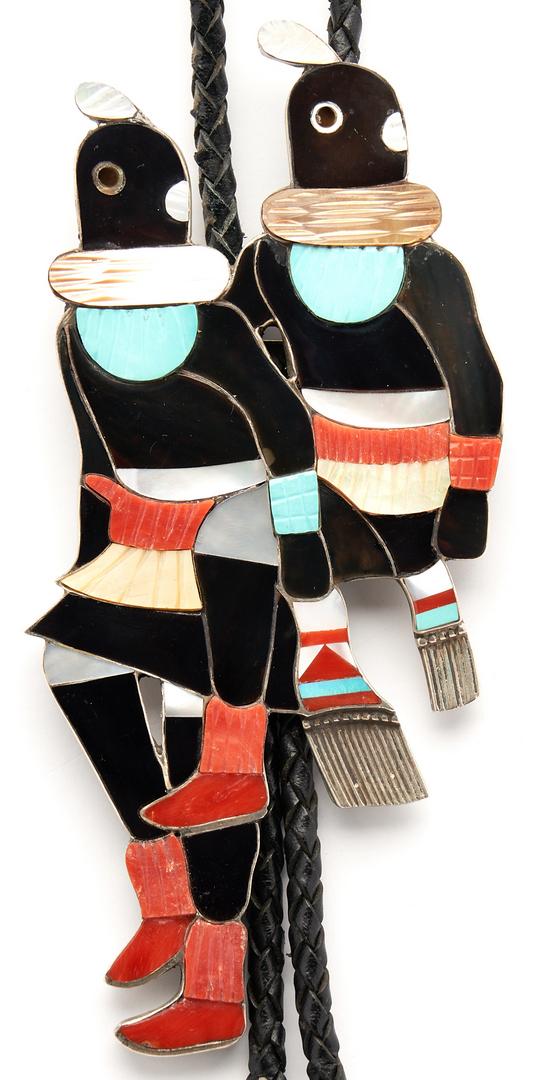 Lot 642: Large Zuni Dancer Bolo Tie, Mudhead, Marked E Z